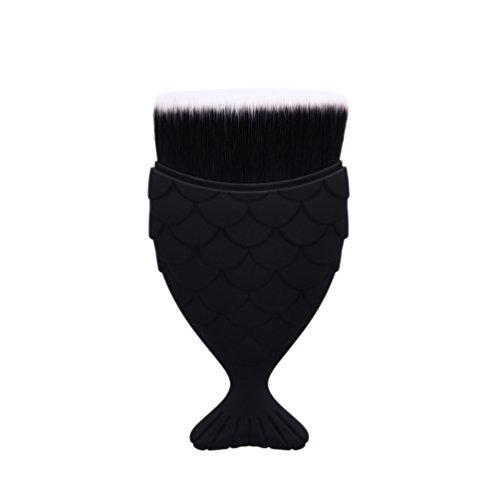 Fashion Base® Nouvelle arrivée coloré Cheveux Rainbown Gradient Fond de teint poudre Pinceaux de maquillage écailles de poisson Pinceaux Maquillage épi Bas Contour Blush Brosse de style Angle (Noir)
