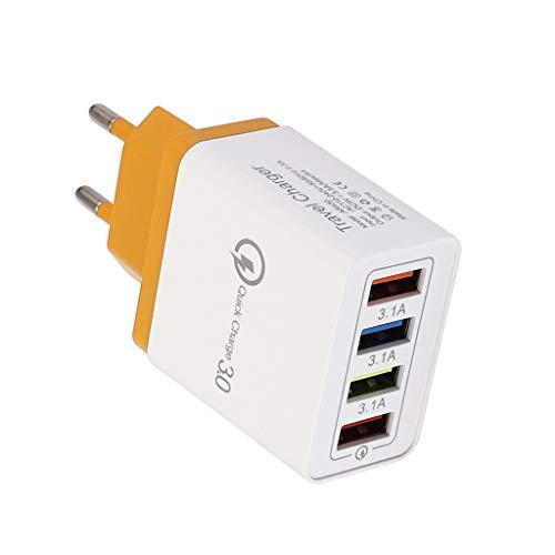 Maleya 4 Port Schnell Schnellladung QC 3.0 USB Hub Ladegerät 3.5A Netzteil EU Stecker Schnelles Ladestecker Internationale Stromadapter Adapter EU Plug Universal Reiseadapter Weltweit -