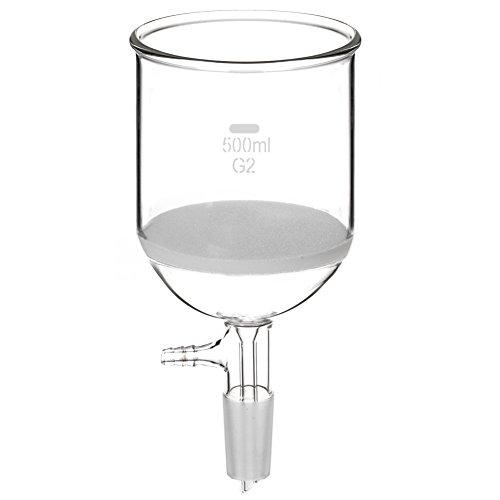 StonyLab Borosilikatglas Buchner Filtertrichter 500ml mit mittlerer Fritte, 30 mm Scheibendurchmesser, 90 mm Tiefe, mit 24/40 Standard-Taper-Innengelenk und vakuumgezahnten Rohren