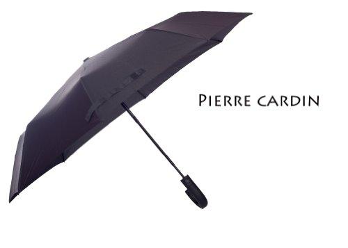 pierre-cardin-noir-motif-parapluie-crochet-en-plastique-poignee-noire-ouverture-automatique
