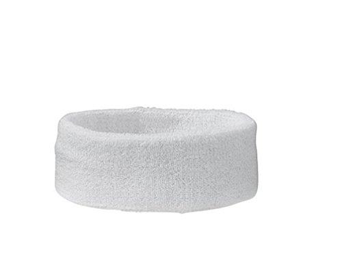 Stirnband Headband Kopfband Knitband Schweißband schwarz rot weiß Stirnbänder Tennis Squash Badminton Fitness (Weiß)
