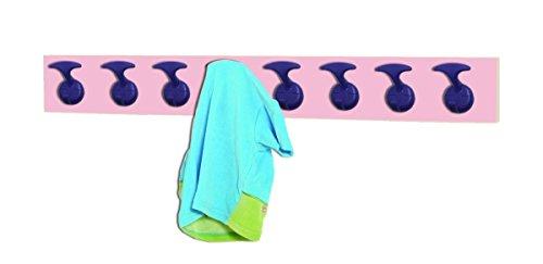 MOBEDUC 600607H22 - PERCHERO INFANTIL CON 8 PERCHAS  MADERA  COLOR HAYA Y ROSA  100 X 7 X 12 CM