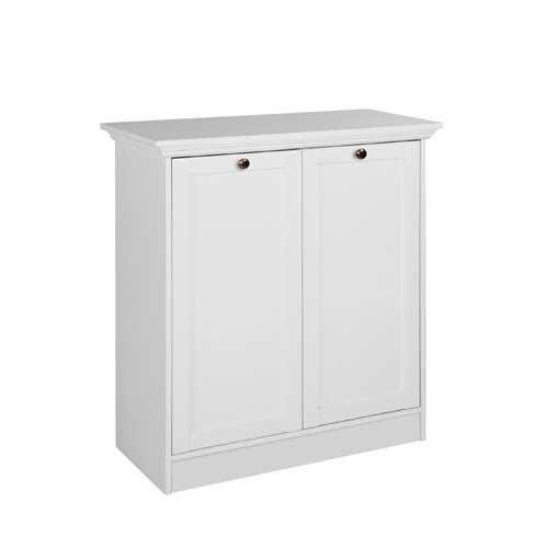 Kommode in weiß, mit 2 Türen und 2 Einlegeböden, hochwertige Rahmenfronten, Metallknöpfe im Vintage-Look, Maße: B/H/T ca. 80/90/35 cm - 2