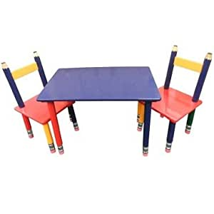 wooden pencil table and 2 chairs toys games. Black Bedroom Furniture Sets. Home Design Ideas