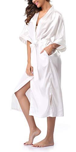 sunshinemall Damen Kimono-Nachthemd, lang, Satin, einfarbig, lang - Weiß - X-Large