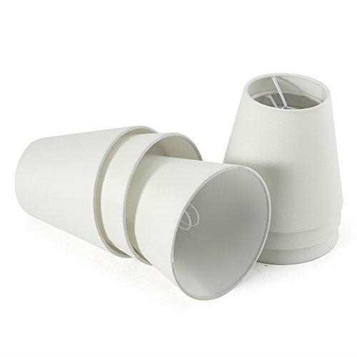Fuloon 6er Set Lampenschirme für Kerze Kristall Kronleuchter Wandleuchte Hängelampe Stoff Lampenschirm (6er Set, Weiß)