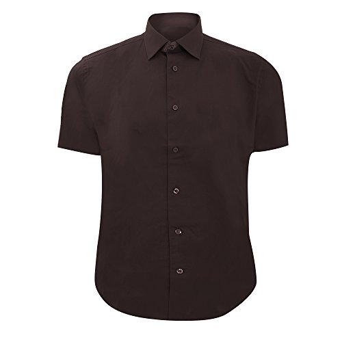 Russell Collection Herren Hemd, Kurzarm, pflegeleicht, enganliegend Burgunder