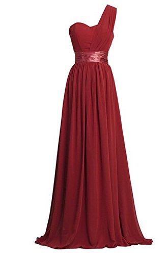 Chiffon delle donne una spalla abiti bridesmaids (44, vino rosso wine)