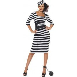 (Ladies Classy Convict Costume Cops/Robbers Outfit - Size 16-18 (Black))