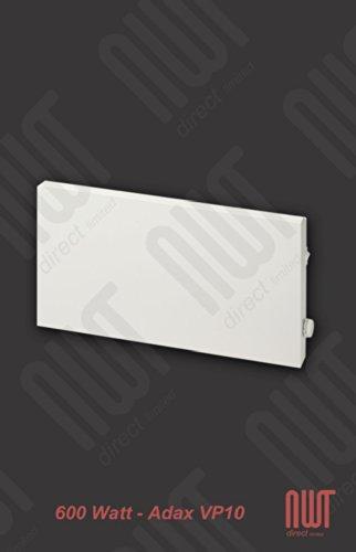 Adax 600 Watt Slimline Electric Panel Convector Heater -Electrical Thermostat. 0.6Kw 600W White