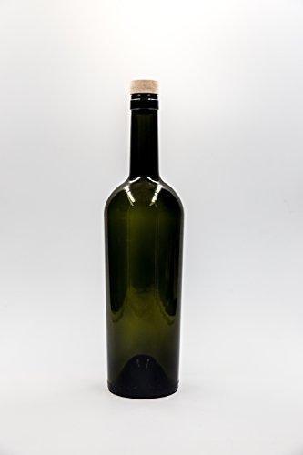 nr 1 pezzo art. Bottiglia Bordolese Conica South 750 ml vetro verde tappo (Verde 750ml Bottiglia)