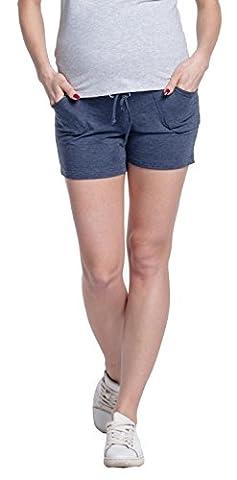 Happy Mama. Femme Shorts Grossesse Elastique à La Taille Poches sur Côtés. 259p (Jeans Mélanger, EU 34, S)
