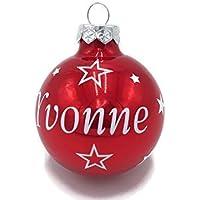 Weihnachtskugel mit Name aus Glas 6cm Wunschtext Rot Glänzend