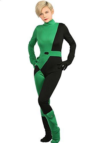 Halloween Kostüm Shego Grün Jumpsuit Damen Anime Cosplay Suit mit Zubehör für Erwachsene Verrücktes Kleid Kleidung (1020 Kostüme)