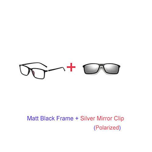 Sport-Sonnenbrillen, Vintage Sonnenbrillen, Multiclip Glasses Frame Clip On Magnetic Sunglasses Männer WoMänner Polarized Sunglases Square Sun Glasses Prescription A8806 1 Frame Silver Clip