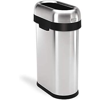Simplehuman cw1467 50 litres poubelle troite ouverte acier inoxydable bross 50l - Poubelle cuisine etroite ...