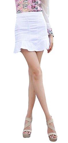 Blansdi Damen Mädchen Frauen Sommer Sexy Hohe Taille Flouncing Fishtail Kurz Mini Rock Minirock Jeans Jeansrock Weiß
