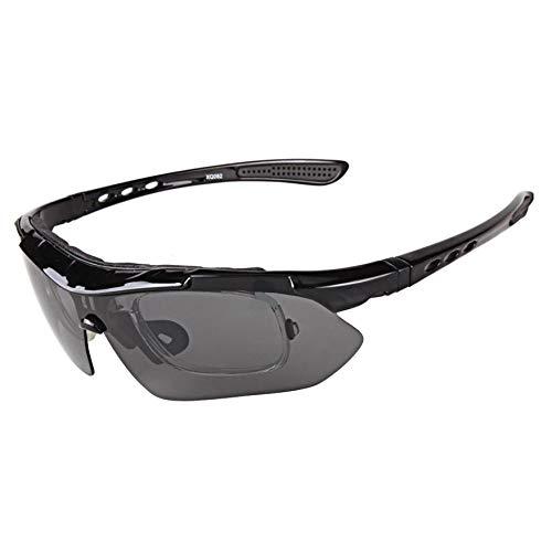 weiyoutong Mode Polarisierte Sportbrille Fahrradbrille Sportliche Sonnenbrille UV400 Schutz mit 5 Wechselgläser für Damen und Herren ( Schwarz )