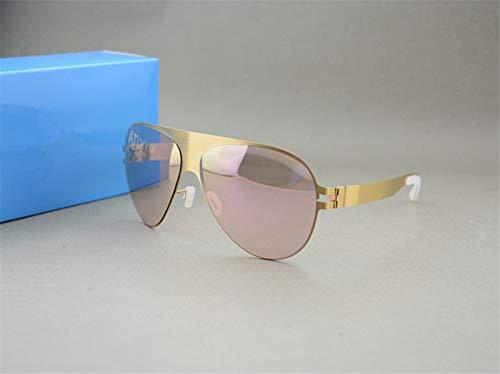 LKVNHP Hochwertige Sonnenbrille Markendesigner Franz Promi Handgefertigte Spiegel Sonnenbrille Männer & Frauen Gold Flash Pilot Aviator SonnenbrilleGold Vs Pink