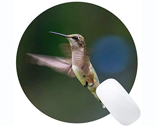 Runde Mausunterlage fertigen, grüner Flügel des Kolibris kundenspezifisch an Mousepad