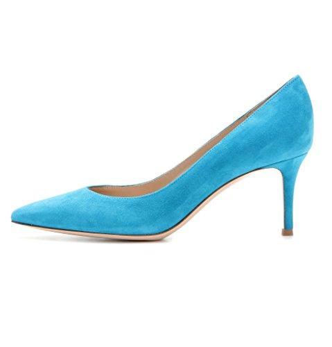 Blau Kitten Toe Büro Pointed Heels Klassische Pumps Partei Kleid Damen Edefs 65mm Geschlossen Brautschuhe O5qx6nwApB