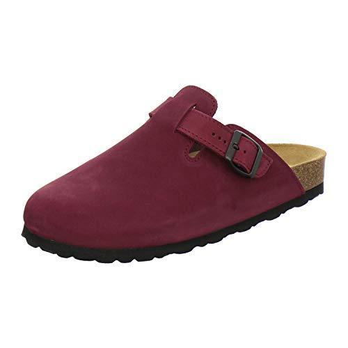 AFS-Schuhe 2900 Clogs Damen, Bequeme Hausschuhe, echt Leder Größe 37 EU Rot (Beere)