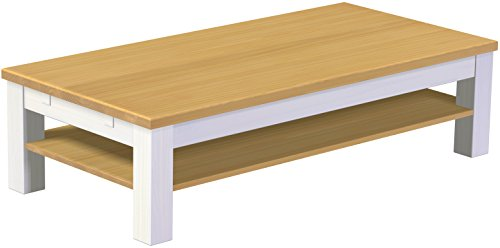 Brasilmoebel® Rio Classico Table Basse en Bois de pin Massif Blanc Clair 150 x 73 cm