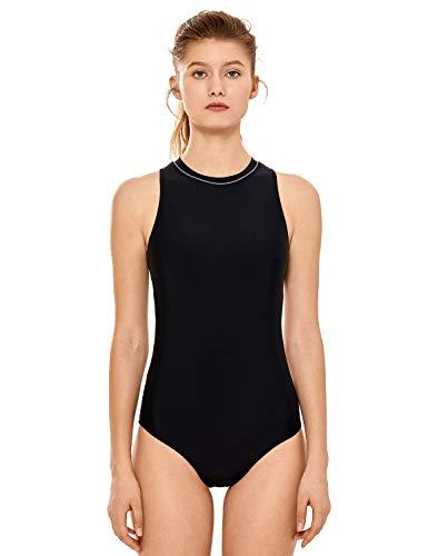 SYROKAN Damen Einteiler Sportlicher Badeanzug High Neck Gepolstert mit Reißverschluss Schwarz - Polster 42 inch