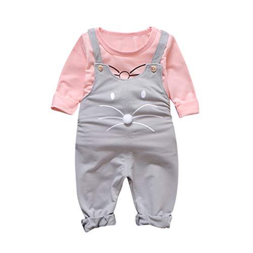Julhold Kleinkind Kinder Baby Mädchen Niedlich Lässig Cartoon Lose T-Shirt Overall Hosenträger Hosen Outfits Set 0-4 Jahre -