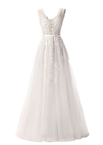 Eudolah Women's Lace Beading Sexy Backless Long Evening Dresses Bride Banquet Elegant Floor-Length Party Prom Dress White UK14
