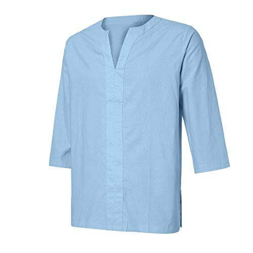 Xmiral Herren T-Shirt 3/4 Ärmel V-Ausschnitt Retro Einfarbig Ausgebeult Sommer Langarm Kurzarm Casual Top Multi Pack Rundhals T-Shirts(Blau,L) - Homeboy Cap