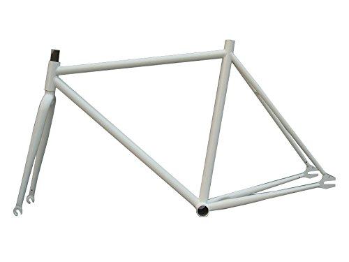 Fixed Gear Fahrrad 39,4-54,6cm Stahl Rahmen mit Gabel 1Speed Track Fixie Bike,, weiß, 19 -