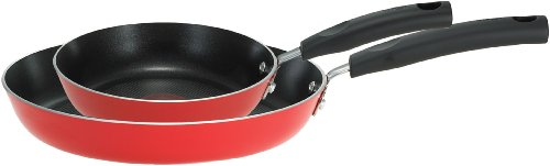 T-FAL C118S2 Signature Nonstick Expert Thermo-Spot Heat Indicator 8-Inch and 10-Inch Fry Pan Cookware Set, 2-Piece, Red by T-fal