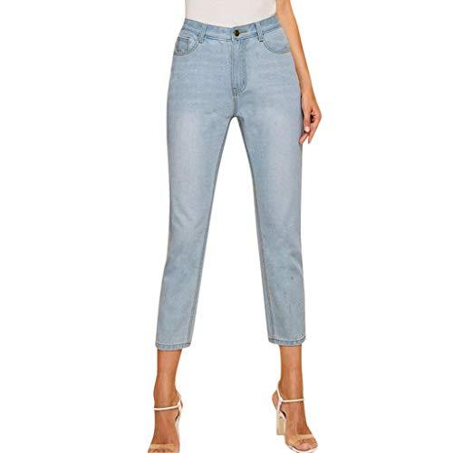 Taille Denim Pant (Hosen Herren Damen Sommer Leggings Mittlere Taille Röhrenhose Denim Stretchy Pencil Pants hellblau M)
