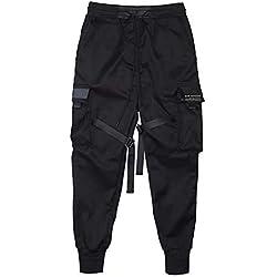 Hombre Pantalones Militares Lazos Harén Pantalón de Chándal Harajuku Pantalones Deportivos Hip Hop Pantalones(El tamaño es pequeño, Compre una Talla más Grande) - S