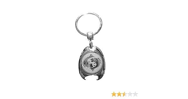 Portachiavi con segno zodiacale Zwilling in argento in elegante confezione regalo con gettone per carrello della spesa e apribottiglie