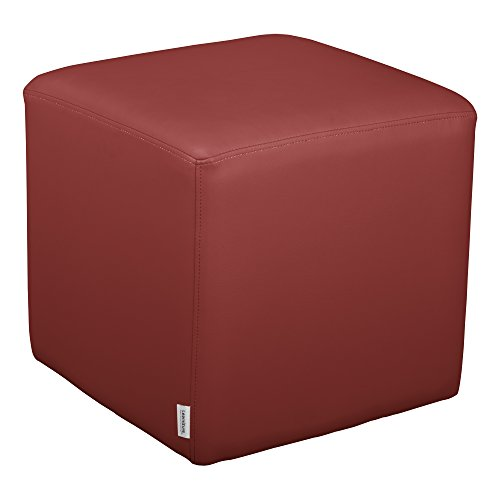 Burgundy Soft-vinyl (School Outfitters Shapes Series II  Vinyl Soft Seating Stool, Cube, 18