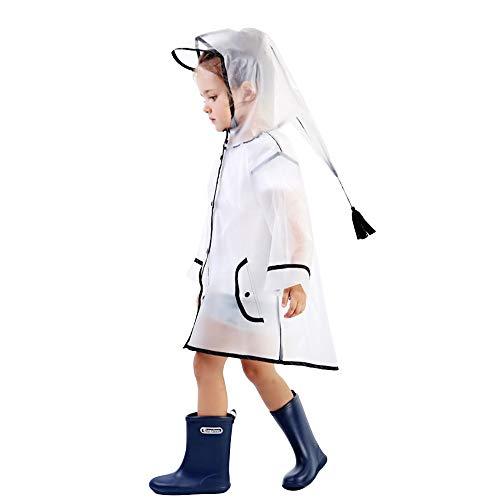 Kinder Regenmantel Transparent Kinder Regenjacke Wasserdicht Regen Tragen Unisex Nette Storm Break Slicker für Jungen Mädchen Kind Alter 1~8 (L)