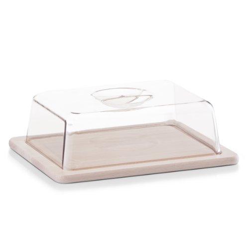 Zeller 22028 - vassoio porta formaggi in legno di faggio, con coperchio, dimensioni 25 x 20 x 8 cm, l x p x a
