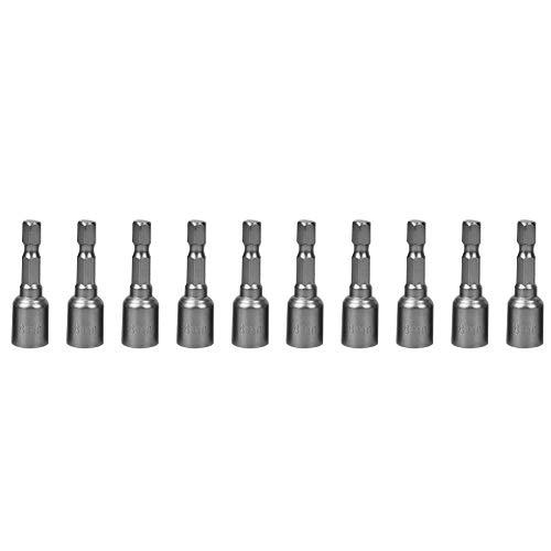 Famus 10pcs 8mm Sechskant-Magnetmutter-Steckschlüssel-Kraftbohrer Chrom-Vanadium-Stahl