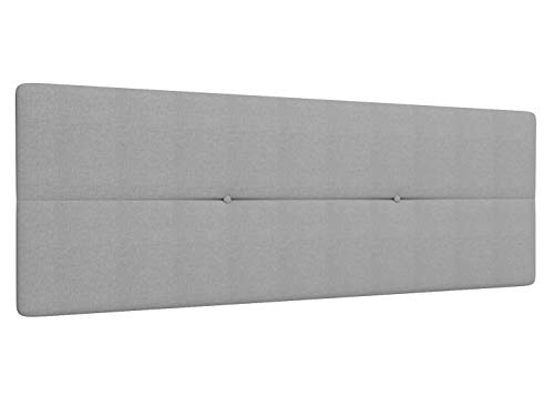 LA WEB DEL COLCHON Cabecero de Cama BARATO tapizado Acolchado Camile 145 x 55 cms Apto para Camas de 120 y 135 Textil Poliester Gris Claro Incluye herrajes para Colgar con regulador de Altura