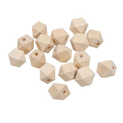 VORCOOL 50pcs Perles en Bois Géométriques Non Peint Naturel Octogone Géométrique Polyèdre À Facettes Perles en Bois Finis DIY Accessoires 20mm