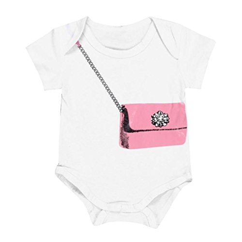 Bekleidung Longra Säugling Neugeborenes Baby junge Mädchen Wallet Muster Sommer Kurzarm Weiß T-shirt Strampler Overall Outfits Kleidung (0-18Monate) (70CM 6Monate, white)