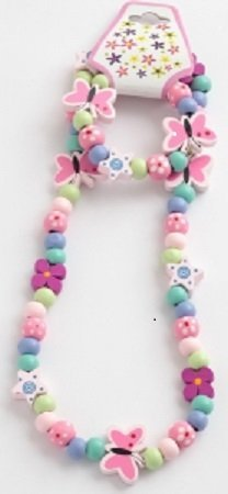 childrens-painted-wooden-butterfly-and-star-bead-necklace-bracelet-set