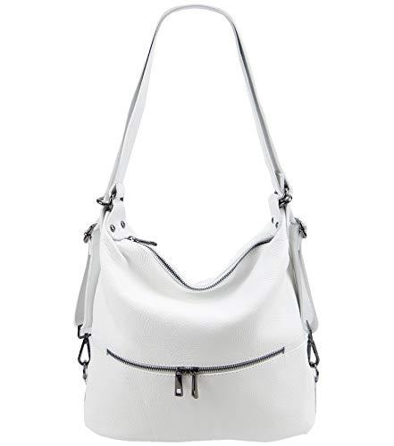 Freyday 2in1 Handtasche Rucksack Designer Luxus Henkeltasche aus 100% Echtleder (Weiß)