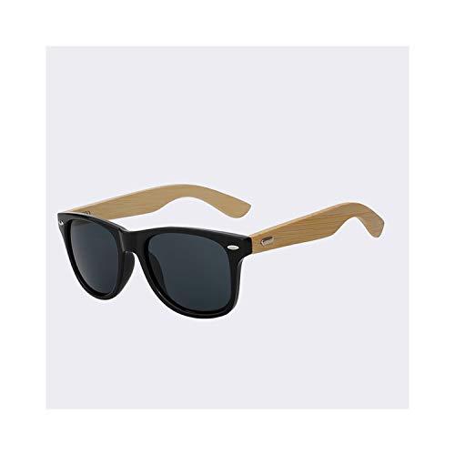 Sportbrillen, Angeln Golfbrille,Bamboo Temple Sunglasses Men Women Sun Glasses Wooden Brand Designer Retro Vintage Wood Sunglasses Top Quality 12Color UV400 Gloss black frame