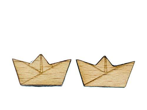 Boot Ohrstecker Miniblings Stecker Meer Ozean Schiff Segeln Origami Holz