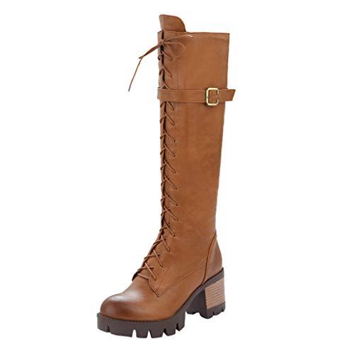 Preisvergleich Produktbild i-uend Damen Lange Stiefel Frauen Heels Tops Wild Cross Schuhe Damen Lace Up Gürtelschnalle Schuhe Frauen Chunky Mittelrohr Stiefel