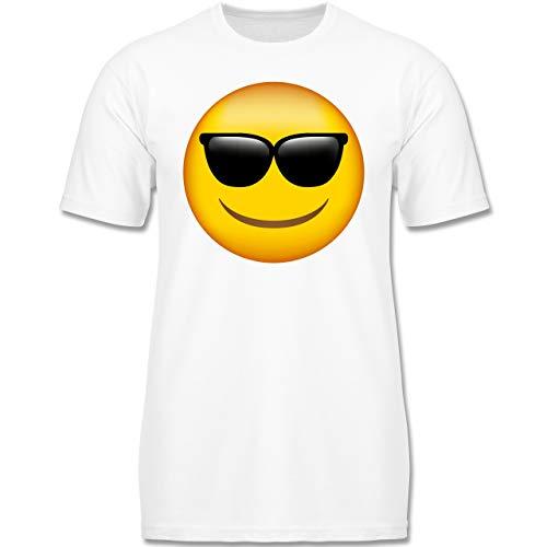 Anlässe Kinder - Emoji Sonnenbrille - 128 (7-8 Jahre) - Weiß - F130K - Jungen Kinder T-Shirt
