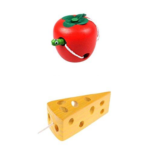 ssori Spielzeug Schnürung Holzkäse Apple Toy Set Für Kleinkinder ()